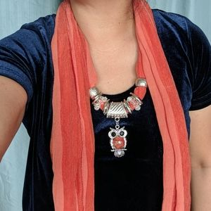 Necklace Scarf with Owl Pendant